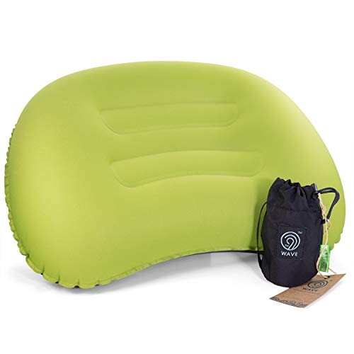 9th WAVE CLOUDPILLOW Ultralight Inflatable Camping Pillow - for Comfortable Sleeping While Travel, Hiking, Backpacking or Hammock Hangout (L, Green). Don't Leak air.