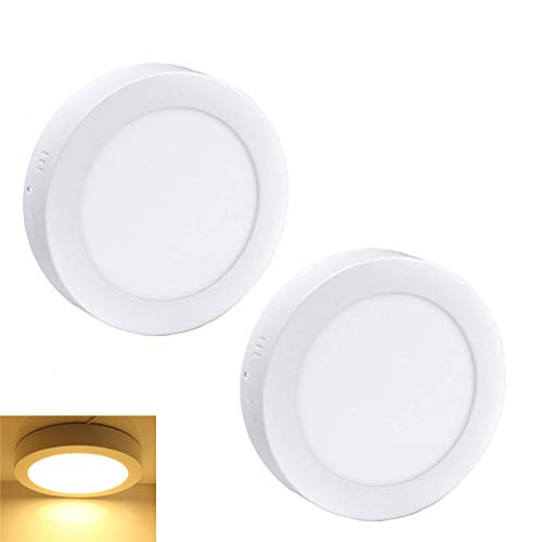 Finish Surface Mounted Bronze - 2Pack LED Surface Mounted Panel Ceiling Light Fixture-12W(100W Equivalent) Soft Warm Flat Flush Mount Downlight Lamp for Closet/Hallway/Stairs/Bathroom/Basement Lighting