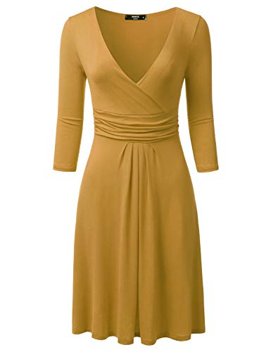 NINEXIS Women's 3/4 Sleeve V-Neck Crossover Banded-Waist Skater Dress, Mustard XXX-Large Plus -