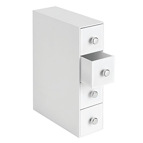 InterDesign Clarity Cosmetic Organizer for Vanity Cabinet to Hold Makeup, Beauty Products - 4 Drawers, White