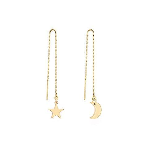 MANZHEN Irregular Moon and Star Threader Earrings Women Ear Line Dangle Drop Earrings (gold)