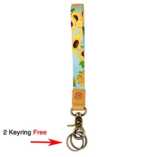 Wristlet Lanyard Keychain Holder with 2 Free Keyring (Sunflower)