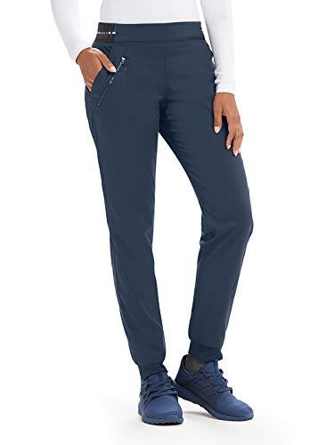 (Grey's Anatomy Active GVSP512 3 Pocket Logo Knit Waist Jogger Scrub Pant Steel/White/White Stripe L)