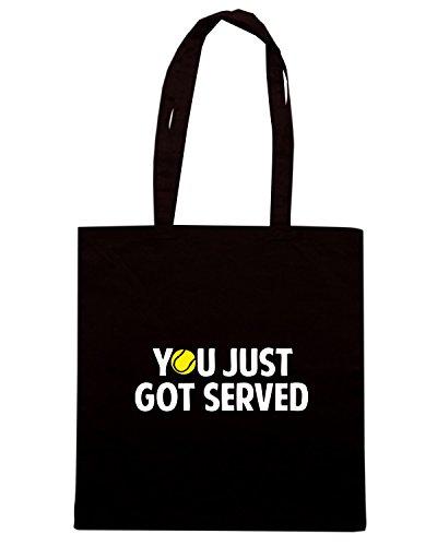 T-Shirtshock - Bolsa para la compra OLDENG00732 you just got servedtennis white Negro