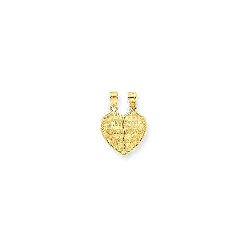 10K Gold Best Friends Break-apart Heart Charm Pendant (0.79 in x 0.63 in)