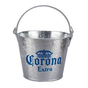 Corona Extra Galvanized Beer Bucket W/Built-In Bottle Opener
