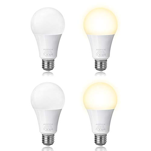 Smart Led Light Bulb Wi-Fi Bulb Anoopsyche Dimmable 2700K-6500K 60W Equivalent 800LM Daylight Night Lights No Hub Required Compatible with Alexa and Google Assistant,E26 (4 Pack)