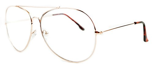 So In Luxe Aviator Retro Fashion Glasses Clear Lens Oversized (X-Large, Rose Gold, - Lenses In Glasses