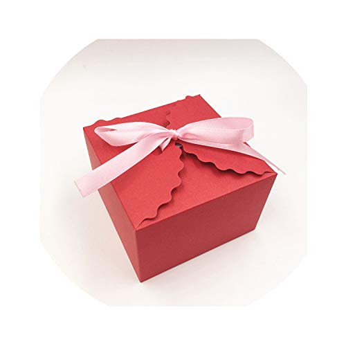 For What Reason 12Pcs/Lot with Free Ribbon Paper Box Weeding Candy Cake Gift Cookies Jewelry Package Container Paper Box Cases,Red 9X6X6Cm