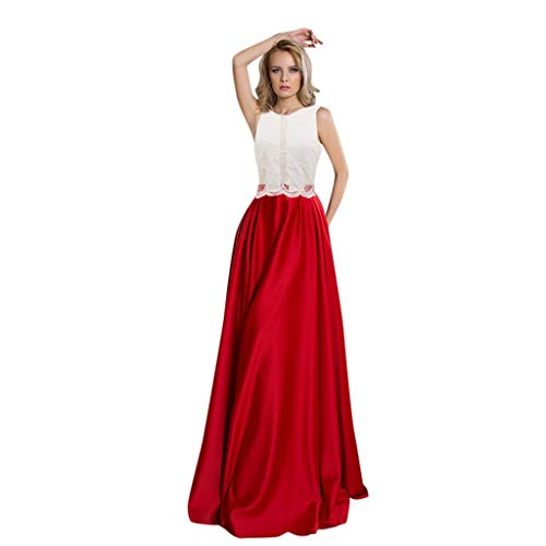 iLOOSKR Elegant Ladies Fashion Attractive Camisole Dress O-Neck Sleeveless Embroidery Splicing Party Dress Floor-Length Red