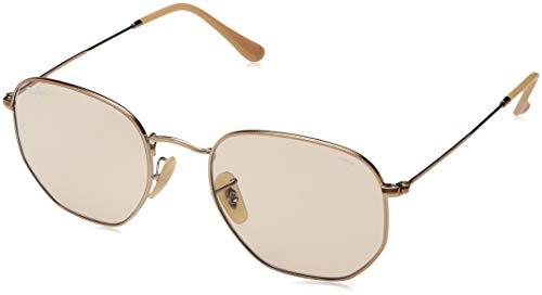 Ray-Ban RB3548N Hexagonal Evolve Photochromic Flat Lenses Sunglasses, Copper/Light Brown Photochromic, 54 ()