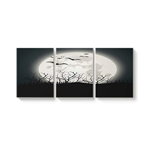 Arts Language 3 Pcs Canvas Wall Art Office Hotel Bedroom Living Room Home Decor,Horror Halloween Moon Bats Black Pattern Canvas Art Oil Paintings,Pictures Modern Artworks,20 x 28in x 3 Panels