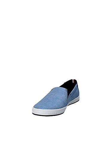 Slip Fondo On Taglia Tessuto Scarpe in Hilfiger Jeans Modello 44 Tommy Gomma in Uomo Denim Bianca nWqIvvU4