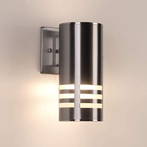 Outdoor Wall Light Lamp Fixture LED Porch Sconce Wall Mount Cylinder Light Lamp 60W Waterproof Up Down Light for Garden Patio Bedroom Living Room Night Nickel Silver No Bulbs