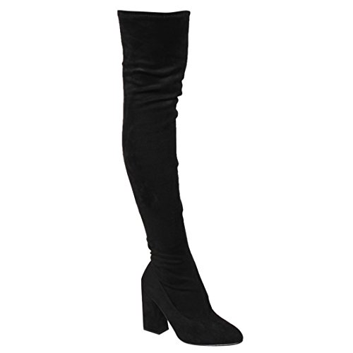 Beston FM29 Women's Stretchy Snug Fit Side Zip Thigh High Boots Half Size Small, Color Black Suede, Size:10 Black Leather Thigh High Boots