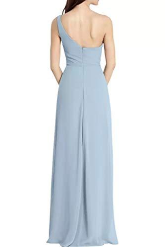 Hell Ein Schulter Lang Brautjungfernkleider A Braut La Blau Abendkleider Marie Blau Linie Partykleider Chiffon Einfach XwYUCEfx