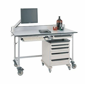 Metro Mobile Lab Table - Metro Carts Mobile Lab Worktable with Microban Surface, 3-Sided, 30