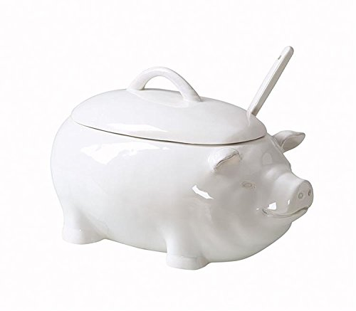 Dolomite Pig Soup Tureen W/ Ladle White Finish Serving Dish Country Farm Home Kitchen D