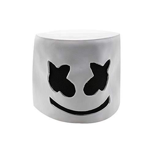 FOONEE Top Marshmello DJ Helmet Music Mask Full Head Helmet Halloween Cosplay Mask Bar Music Props Rubber Latex Mask White(No Light)]()