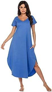 Ekouaer Women's Sleepwear Casual V Neck Nightshirts Short Sleeve Long Nightgown S