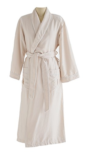 Chadsworth & Haig Microfiber Plush Bathrobe With Minx Lining - Men and Women - Ivory - Medium (Star Dual Collar)