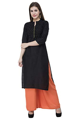 Lagi Designer Polly Silk Straight Kurti for Women Printed Tunic Top Round Collar ¾ th Sleeve Dress