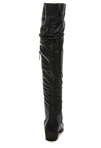 Breckelles Alabama-12 Over De Knie Rijdende Oxford Boots Black-pu