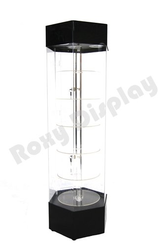 ( JW-AD-108BK) ROXYDISPLAY™ Rotatable Hexagon Acrylic Display Tower Case by ROXYDISPLAY™