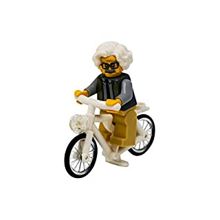 LEGO Albert Einstein Riding a Bike - Custom Famous Scientist on a Bicycle Minifigure