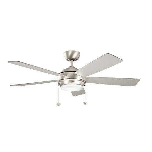 Kichler 300173NI Starkk Ceiling Fan, 52-inch, Brushed Nickel, 5 Reversible Silver/Walnut Wood Blades (Table Lamp Walnut Nickel)