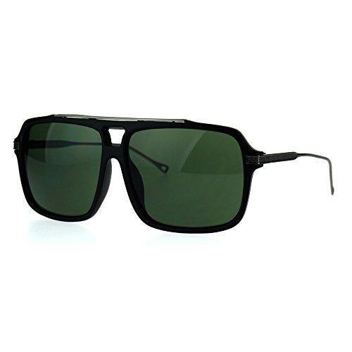 Mens Hip Hop Celebrity Rectangular Plastic Racer Pilot Sunglasses Matte Black Green by SA106
