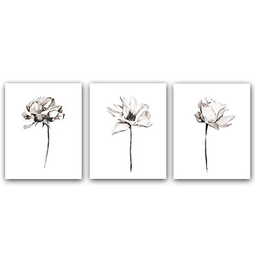 "Blooming Lotus Flower Art Print Elegant Floral Art Picture Poster Set of 3 (10""X8""Canvas Botanical Wall Art Painting for Yoga Studio Office Home Decor Floral Lover Gift,No Frame"