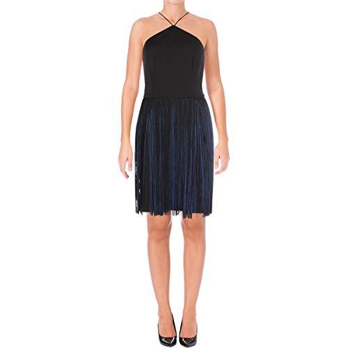 Aidan Mattox Women's Scuba Crepe Halter Dress With Two-Tone Fringe Skirt Black/Navy 10