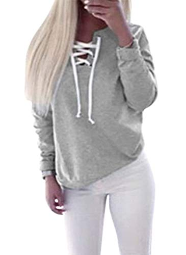 Femmes Col Tops À Lacets V Automne Manches Élégant Casual Printemps Grau Moderne Sweatshirt Unie Longues Couleur Mode Chemises Blouse Sweatshirts Haidean En BRxdB