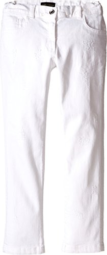 Dolce & Gabbana Kids Girl's Denim Pants in White/Denim (Big Kids) White/Denim 10 (Big Kids) X One Size by Dolce & Gabbana
