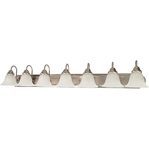 Filament Design 7778110291 7-Light Brushed Nickel Vanity Light with Alabaster Glass Bell Shade,