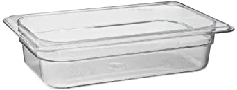 """Cambro 42CW 1.8 qt Capacity, 10-7/16"""" Length x 6-3/8"""" Width x 2-1/2"""" Depth, Camwear Clear Polycarbonate Fourth Size Food Pan"""