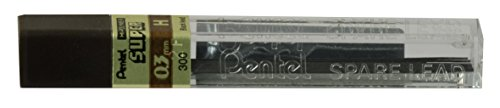 Pentel Super Hi-Polymer Lead, 0.3mm, Extra Fine, H, 12 Piece/Tube, Box of 12 (300-H)