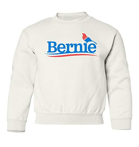 Bernie 2020 The Bird - Bernie Sanders USA President Unisex Youth Sweatshirt Crewneck Sweater (White, Youth Medium)