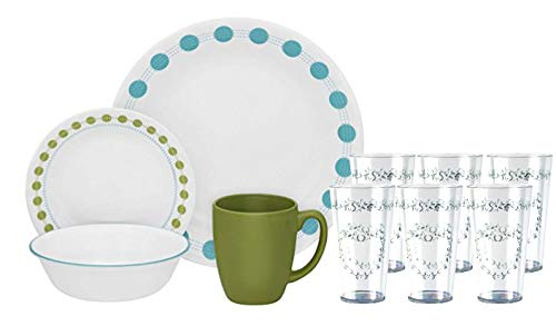Corelle Livingware South Beach 16-piece Dinnerware Set & 19oz Acrylic Iced-tea Glass Set of ()
