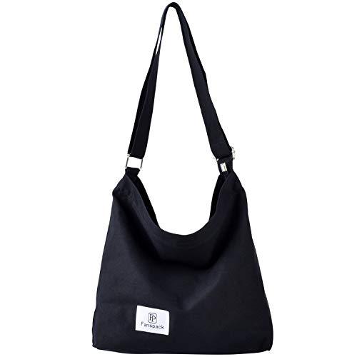 Hobo fanspack De Bolso Mujer Bolsos Negro Bag Lona Mujer Multifuncional Bandolera negro Shopper Crossbody 50SxgqFqw