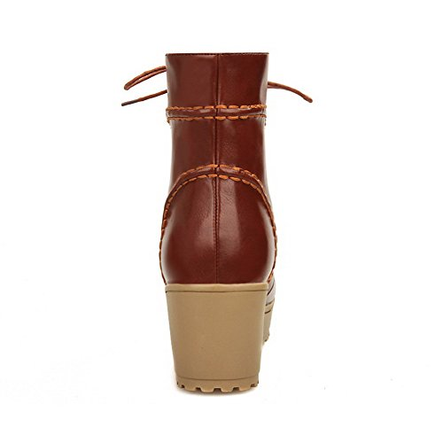 Round Allhqfashion Closed Boots Heels Brown Toe Low PU top Women's Kitten Solid CwwHB