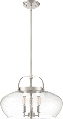 - Quoizel CTP2818BN City Park Bowl Convertible from Pendant to Semi-Flush Ceiling Lighting, 3-Light, 180 Watts, Brushed Nickel (14