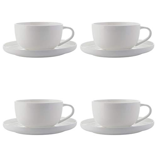 (Maxwell Williams Cashmere Espresso Cup and Saucer Set, Fine Bone China, High Rim Style, White, 100 ml (8 Pieces))