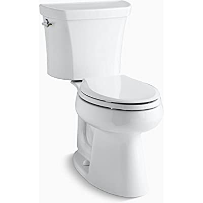 Kohler K-6393-0 Highline Comfort Height Two-Piece Elongated Dual Toilet with Class Five Flush Technology and Left-Hand Trip Lever, White