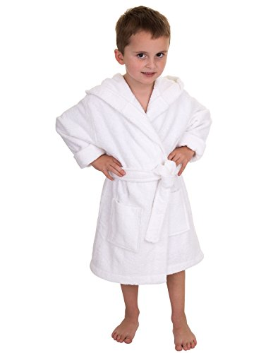 TowelSelections Big Boys' Turkish Cotton Hooded Kids Terry Bathrobe Cover-up Size 12 White (Boys Terry Cloth)