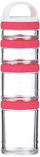 BlenderBottle GoStak Twist n Lock Storage Jars, 4-Piece Starter Pak, Pink