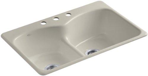Kohler K-6626-3-G9 Langlade Smart Divide Self-Rimming Kitchen Sink with Three-Hole Faucet Drilling, Sandbar