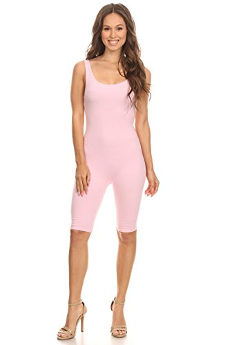 Women Sleeveless Stretch Skinny Solid Knee Length Sport Unitard Bodysuits Active (Small, LightPink)