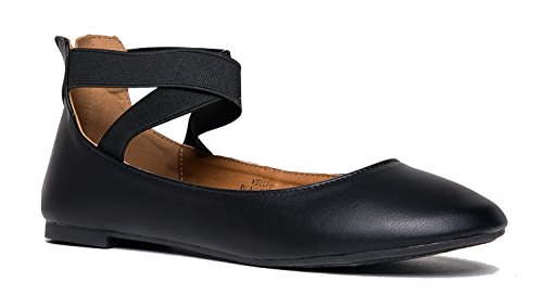 J. Adams Kelli Slip On - Comfortable Elastic Cross Strap Round Toe Ballet Flat